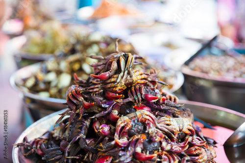 Fotobehang Bangkok Pickled Crabs For Sale At Local Thai Street Market