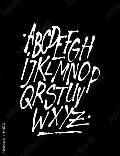 Aluminium Graffiti Hand style font. Vector alphabet