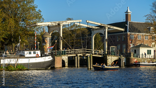 Keuken foto achterwand Amsterdam Drawbridge over Amsterdam canal, October 13, 2017