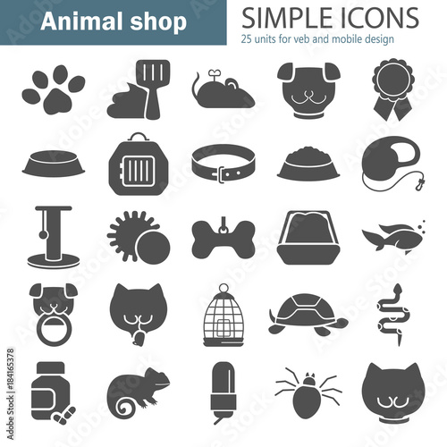 Fototapeta Veterinary shop simple icons set for web and mobile design