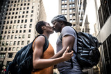 Young afro american kissing in New york