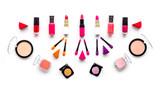 Decorative cosmetics pattern. Eyeshadows, rouge, applicators. lipstick, nailpolish on white background top view copyspace - 184166194