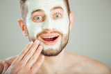 surprised man with beauty mask, skin care. - 184170175