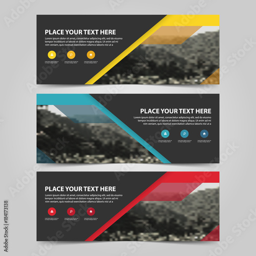 Yellow Blue Red abstract corporate business banner template, horizontal advertising business banner layout template flat design set , clean abstract cover header background for website design