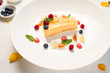 sweet delicious cheesecake recipe concept. food photography. confectionery art