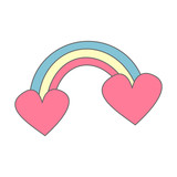 cute cartoon vector rainbow with heart isolated on white background - 184181166