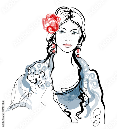Tuinposter Art Studio Traditional Spanish Flamenco woman