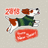New Year postcard with dog in colorful sweater