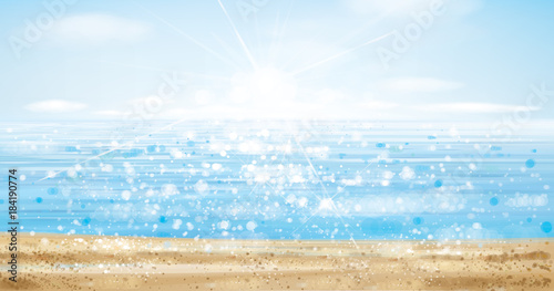 Vector ocean with blue sky and sandy beach, blurred effect.