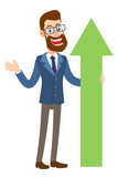 Hipster Businessman holding a green arrow and gesticulating - 184196751