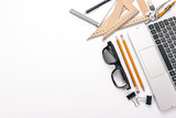 Graphic designer. Laptop, notebook, pencil. Top view. On a white background. Free space for text. - 184200983
