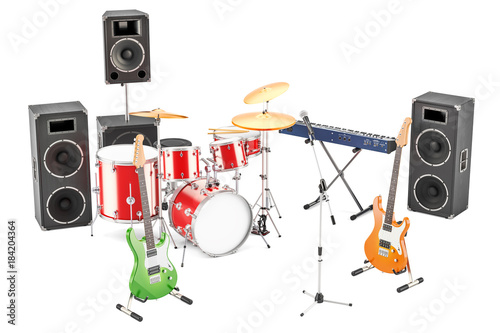 Plexiglas Muziek Set of different musical instruments and equipment, 3D rendering