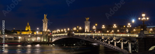 The Alexandre III bridge at night in Paris, France - 184208102