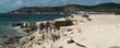 View of the beautiful beach of Salinas on Ibiza