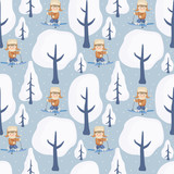 Seamless pattern with the image of children on winter walk. Vector background.