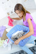 girl sorting the laundry