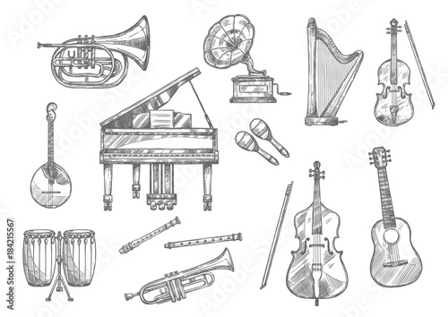 Plexiglas Muziek Musical instrument sketch of classic, jazz music