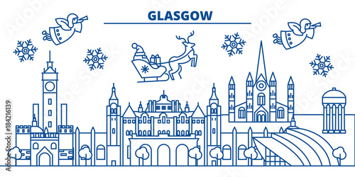 Scotland, Glasgow winter city skyline. Merry Christmas, Happy New Year decorated banner with Santa Claus.Winter greeting line card.Flat, outline vector. Linear christmas snow illustration