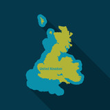 United Kingdom UK Regions Map in flat style with shadow - 184216311