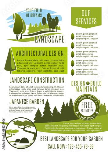 Staande foto Wit Landscape design company business banner template