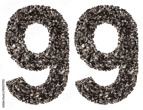 Arabic numeral 99, ninety nine, from black a natural charcoal, isolated on white Poster