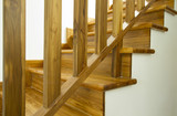 Modern style wooden stairs, Interior design.