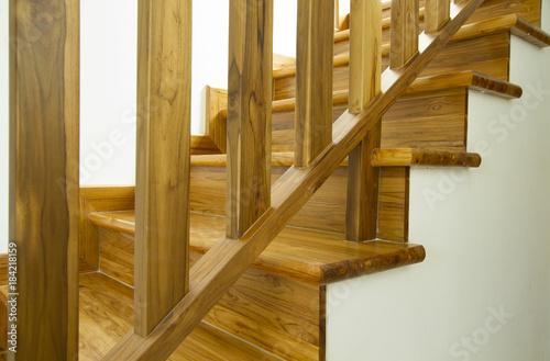 Modern style wooden stairs, Interior design.