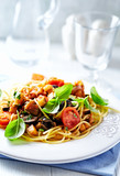 Pasta with Pancetta and Vegetable Sauce - 184219358