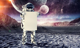 Spaceman with banner. Mixed media - 184220557