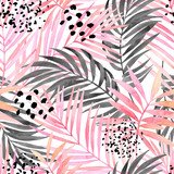 Watercolour pink colored and graphic palm leaf painting. - 184224924