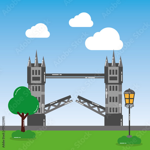 Sticker london tower bridge street lamp tree landmark landscape vector illustration
