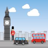 london big ben soldier decker bus and taxi urban landscape vector illustration - 184226100