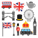 london england toruism travel landmark symbol vector illustration - 184226110