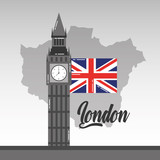 big ben london map and flag british landmark vector illustration - 184226166