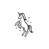 Vector hand drawn unicorn with magic stars outline doodle icon. Unicorn with magic stars sketch illustration for print, web, mobile and infographics isolated on white background. - 184226197