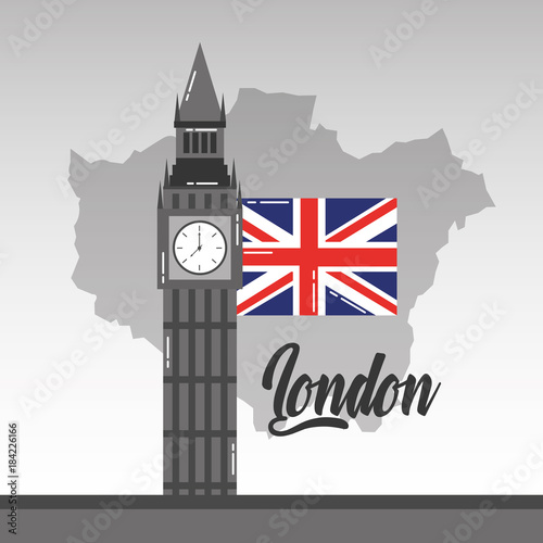 Fridge magnet big ben london map and flag british landmark vector illustration