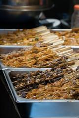 Chinese Street Food - Variety of Kebabs Selective Focus Chengdu China