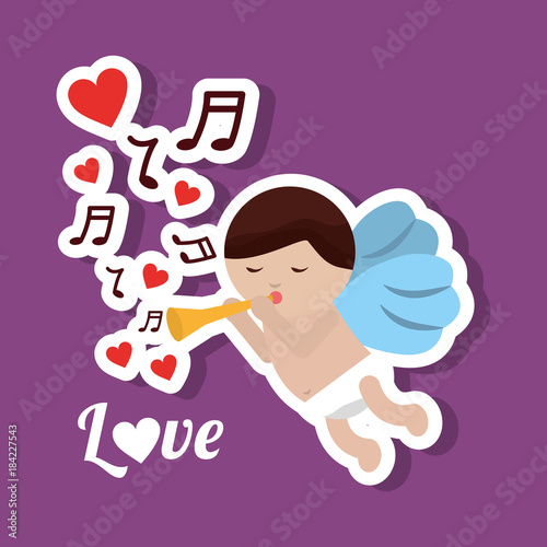 Plexiglas Muziek love cupid holding trumpet music romantic violet background vector illustration