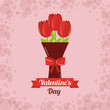 valentines day card bouquet flowers bow decoration vector illustration - 184227718