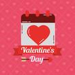 valentines day card calendar love dating banner vector illustration