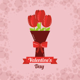 valentines day card bouquet flowers bow decoration vector illustration