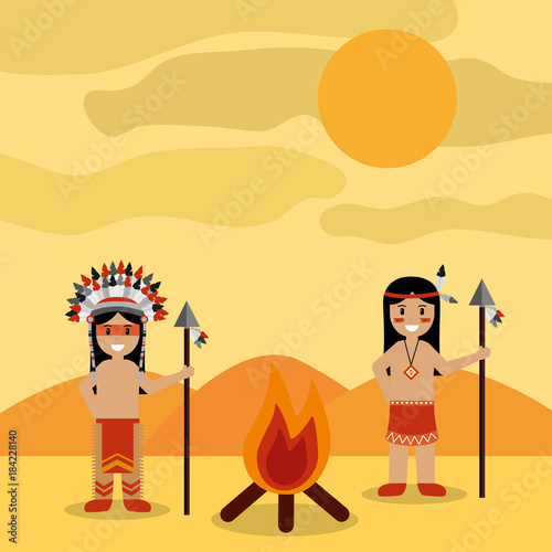 desert landscape and two native american indian with bonfire vector illustration