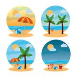 summer landscape different scene beach vector illustration - 184228765
