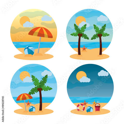 Staande foto Wit summer landscape different scene beach vector illustration