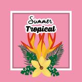 summer tropical flower exotic floral petals poster vector illustration - 184228992