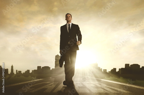 American businessman walking above career word