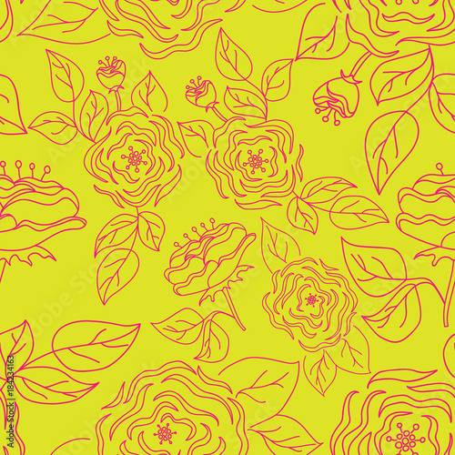 Seamless pattern with hand-drawn gentle roses on a bright background.