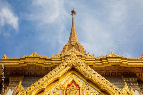 Foto op Canvas Bangkok Top part of Thai temple roof detail in Bangkok, Thailand