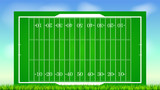 Football field with grass on blue backdrop of sky. Background for posters, banner with american football field with markup, top view. 3D illustration, ready for print and design. - 184234954