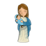 Virgin mary cartoon icon vector illustration graphic design - 184235561